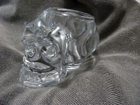 Vintage Clear Glass Crystal Skull Candle Holder or Paperweight Wicca, Heavy Metal, Goth, Voodoo, Halloween Collectible