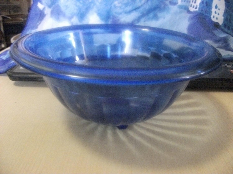 Antique Cobalt Blue Hazel Atlas Depression Glass Nesting Bowl