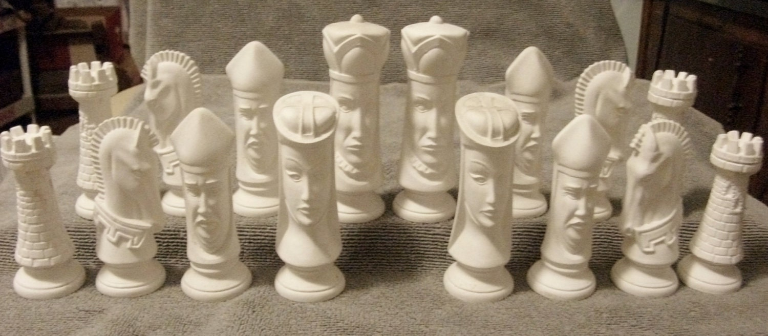 1980s Vintage Duncan Bisque Unfinished Chess Set All 32 Pieces