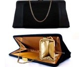 Vintage Clutch Black 1950s Handbag w/ Coin Purse & Rhinestones by After Five with Gold Satin Lining