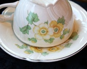 Vintage Teacup & Saucer Taylor Smith Taylor Yellow Flowers and Silver Rim