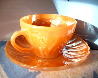 Vintage Fire King Peach Lustre Swirl Teacup & Saucer Sets