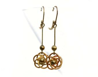 Atomic Sci-Fi Earrings, Mid Century Vintage Brass