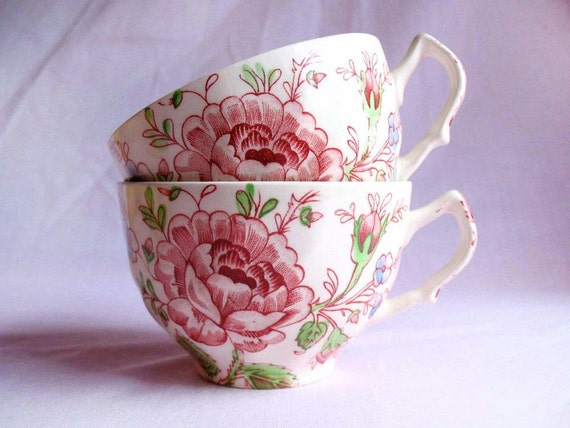Vintage Rose Chintz Johnson Bros Teacups Set of 2 English Tea Cups