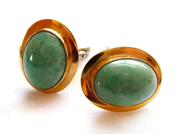 Vintage Cuff Links Jade Gold & Sterling Handcrafted Mid Century Mens Jewelry FREE Shipping