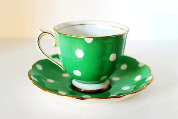 Vintage Royal Albert Teacup & Saucer Green Polka Dot Bone China with Gilt Rim
