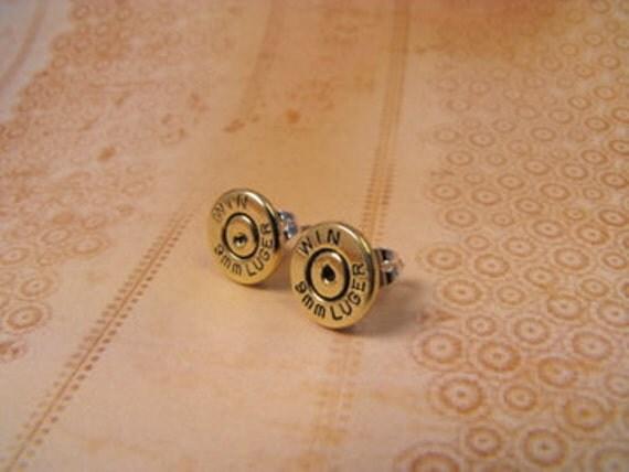 Bullet earrings brass and primer