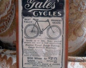Victorian Bicycle Advertisement, Copper Framed, 1896 Antique