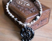 Spiral Hemp Necklace in Black and Silver, Glass Pendant / Beads, Unisex