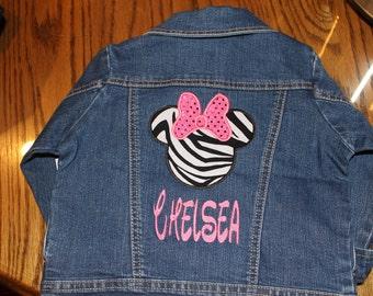 Minnie Mouse Zebra Sparkle Jean Jacket