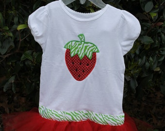Sparkle Strawberry Tutu Shirt with ATTACHED tutu, Strawberry Flip Flops and Strawberry Bow