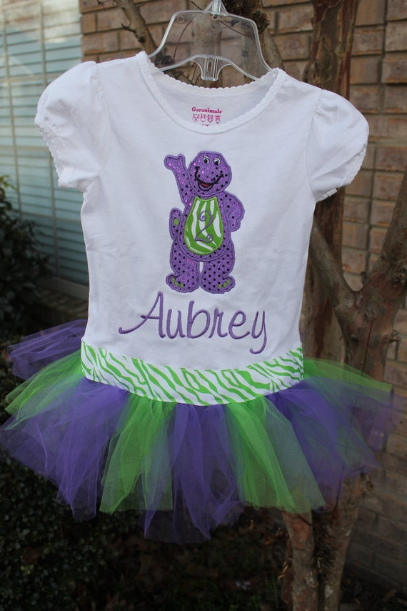 ultimate barney inspired shirt with attached tutu by