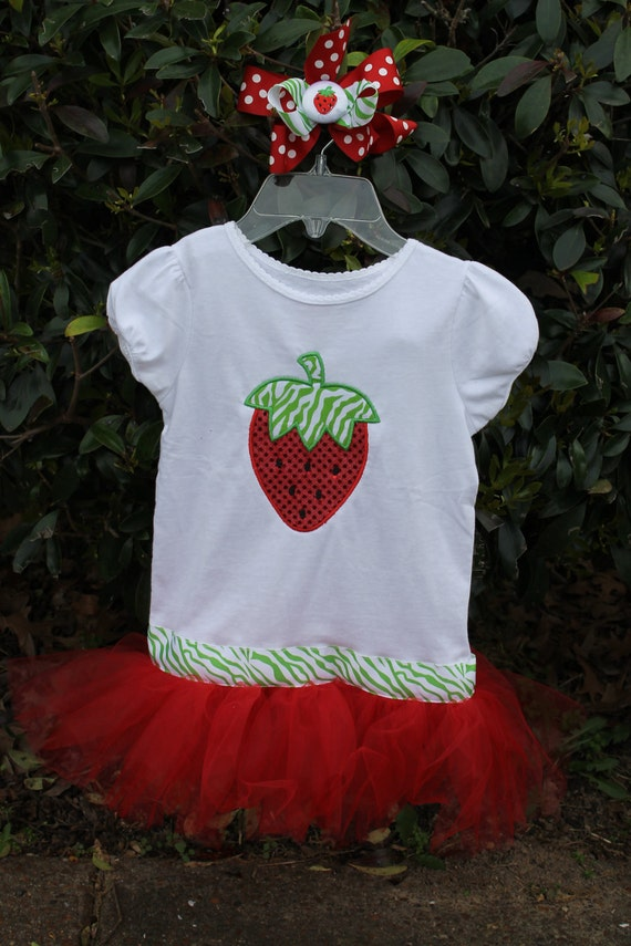 sparkle strawberry tutu shirt with attached tutu strawberry