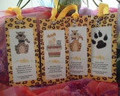 """Cat Bookmarks - Kitty Love II Mega Charms (Leopard Yellow Ribbon) - Set 4 by """"The Perky Poet"""""""