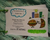 Mini Book - Draw Your Own Characters - Burger Man Meets the Villain El Taco , Cute PDF Form - Buy 2 PDFs, get 1 FREE