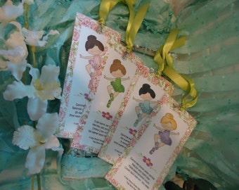 "Ballerina Bookmarks Rose Pattern - Mega set of 4 by ""The Perky Poet"""
