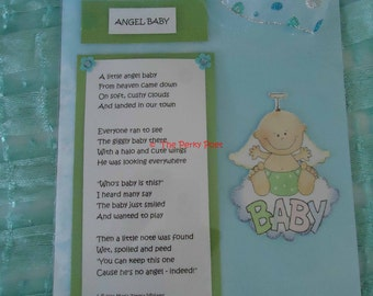 """Baby Poem, Cute, Newborn - Angel Baby - Frame with Magnet by """"The Perky Poet"""""""