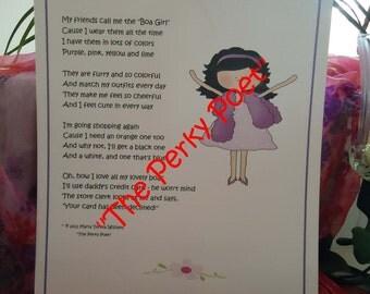 "Boa Girl, Daddy's Girl Poem by ""The Perky Poet"""