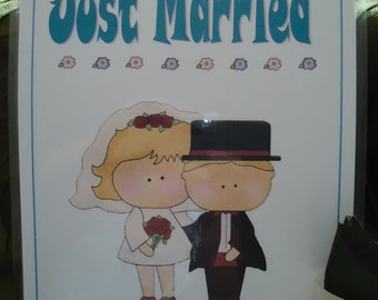 """Just Married Car Sign, Marriage, Wedding by """"The Perky Poet"""""""