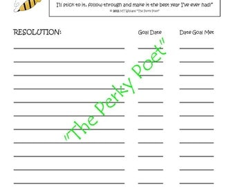 New Year's Resolutions, Gotta Stick to It List, Goal Setting - Printable Copy, Cute - 2 pages