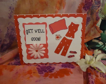 """Get Well Card, Cute, Pajama, Relax and Rest - by """"The Perky Poet"""""""