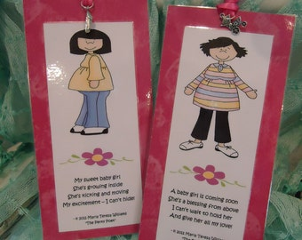 """Pregnancy Bookmarks - Joy of Expecting Girl -Mega Charms - Set by """"The Perky Poet"""""""