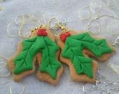 Holly gingerbread ornament earrings