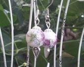 Floral porcelain dangle earrings