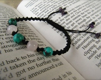 Rose Quartz and Turquoise Macrame Adjustable Bracelet - Stone to ENHANCE LOVE and stone for FRIENDSHIP