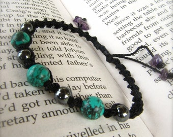 Macrame Bracelet turquoise and hematite- Stone of INTUITION and stone for FRIENDSHIP