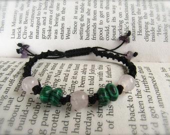 Malachite and Rose Quartz Macrame Adjustable Bracelet - Stone for TRAVELLERS and stone to ENHANCE LOVE