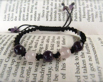 Rose Quartz and Amethyst Macrame Adjustable Bracelet - Stone to ENHANCE LOVE and stone for good DREAMS