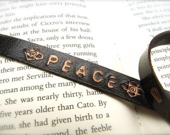 Leather Stamped Bracelet, custom name or initial - Sleek and Simple Style