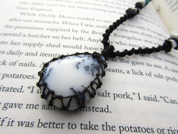 RESERVED- Dendrite (Tree) Agate Necklace with Turquoise and Howlite - stone to deepen CONNECTION with EARTH