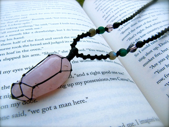 Rose Quartz Mala (Indian Macrame) Necklace with Glass beads and jade fastner - stone for LOVE and SELF-WORTH