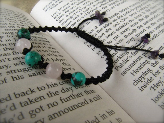 Rose Quartz and Turquoise Macrame Adjustable Bracelet - Stone to ENHANCE LOVE and stone for FRIENDSHIP