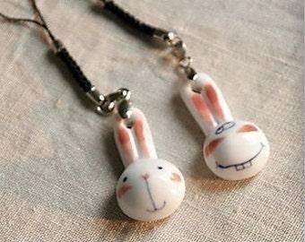 Rabbit  Mobile Oranment / Keychain ( white porcelain )