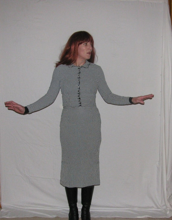 Vintage Gingham Dress Suit 50s 60s XS Small 2 piece skirt jacket