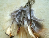 Feather Earrings with Antiqued Gold Chain and Copper Swarovski Crystals