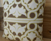 Decorative pillow, Brown taupe, Ivory, Pale Green Art Deco Floral Scroll pillow cover
