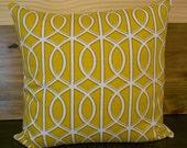 Decorative pillow cover, DwellStudio, Bella links in citrine yellow, trellis pillow