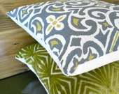 Pair of Gray and citrine ikat decorative pillow covers