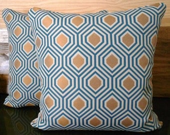 Both sides, Turquoise blue and gold geometric decorative pillow cover