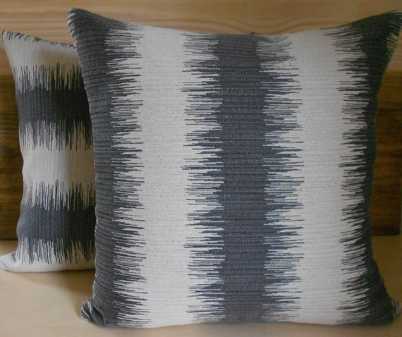 Grey ikat striped decorative pillow cover