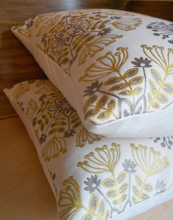 Pair of pillows, yellow and gray floral, medallion decorative pillow covers, throw pillows