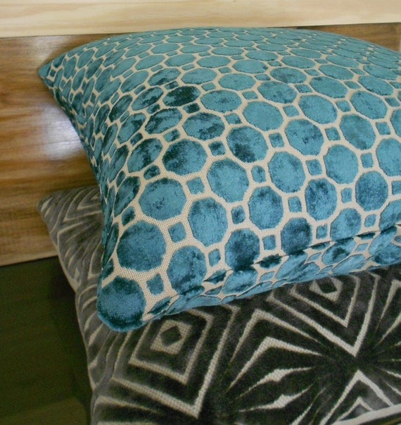 Decorative Throw Pillows Etsy : Items similar to Turquoise velvet decorative throw pillow cover on Etsy