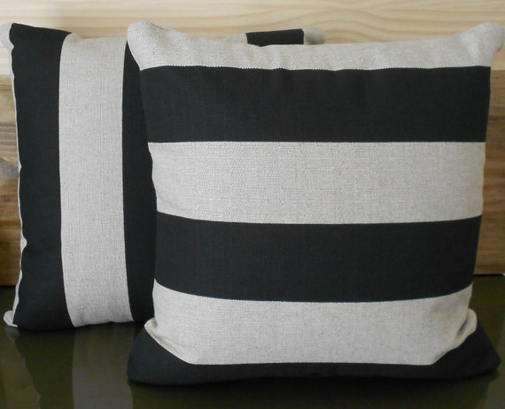Pair of Black and tan striped decorative pillow by pillowflightpdx