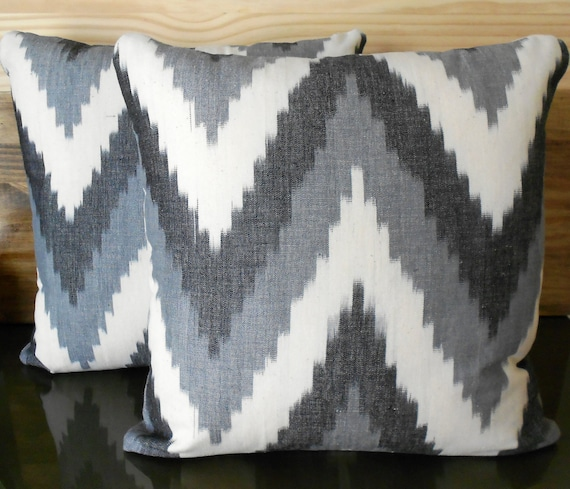 Gray ikat chevron decorative pillow cover