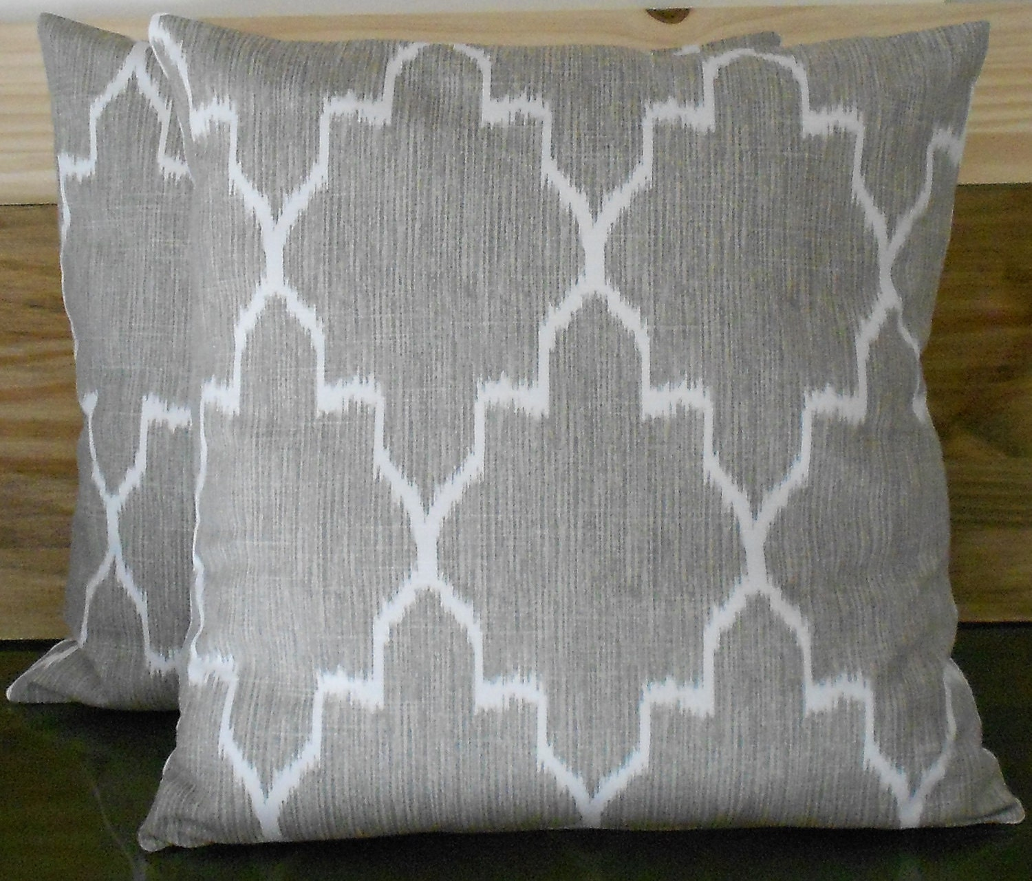 Modern grey moroccan ikat decorative pillow by pillowflightpdx