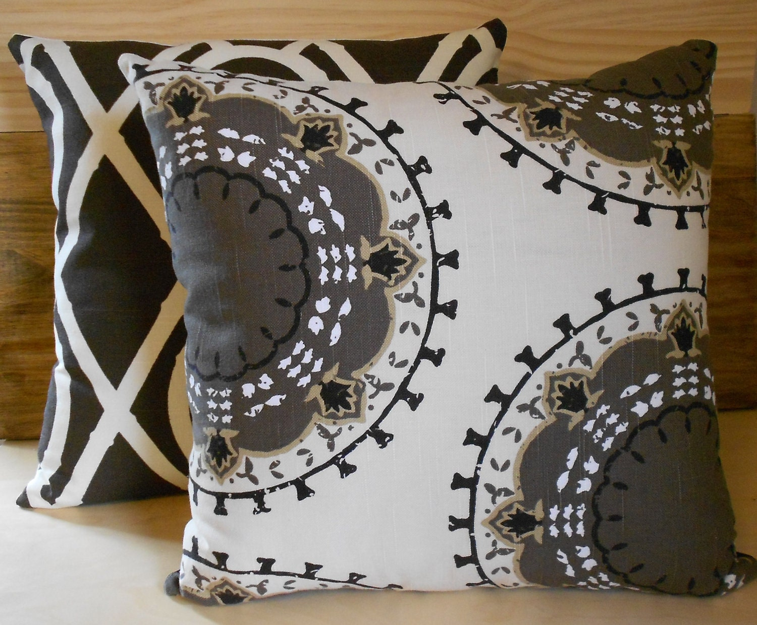 Black White Tan Throw Pillows : Decorative pillow cover Brown cream and black medallion